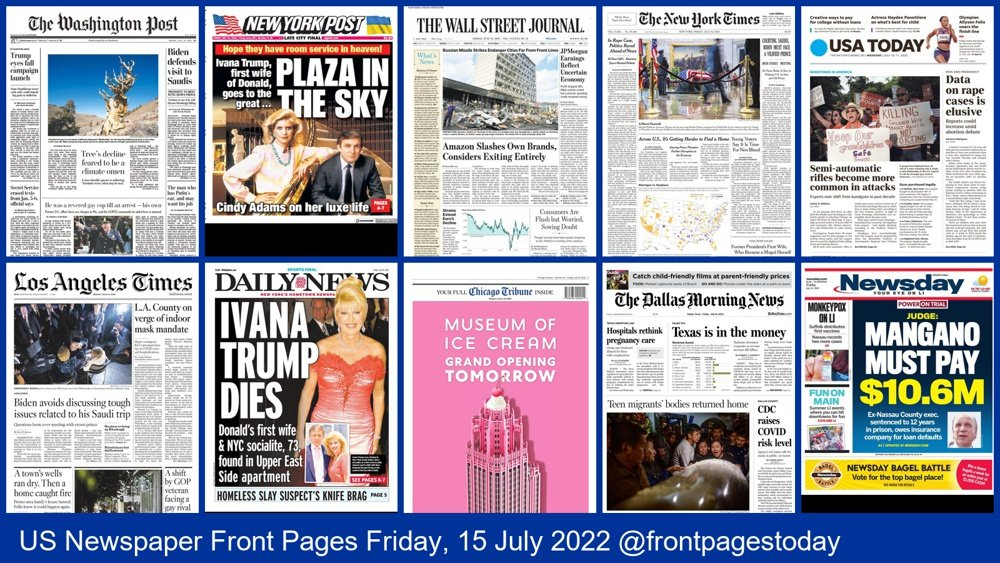 US Newspaper Front Pages