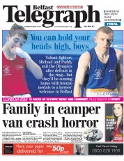 Belfast Telegraph Newspaper Front Page (UK) for 11 August 2012