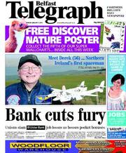 Belfast Telegraph () Newspaper Front Page for 13 January 2012