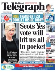 Belfast Telegraph (UK) Newspaper Front Page for 17 September 2014