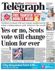 Belfast Telegraph (UK) Newspaper Front Page for 18 September 2014