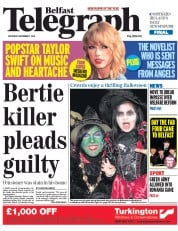 Belfast Telegraph (UK) Newspaper Front Page for 1 November 2014