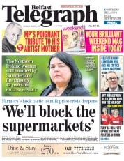 Belfast Telegraph (UK) Newspaper Front Page for 1 August 2015