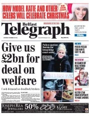 Belfast Telegraph (UK) Newspaper Front Page for 20 December 2014