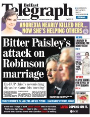 Belfast Telegraph Newspaper Front Page (UK) for 20 January 2014