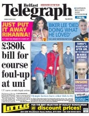 Belfast Telegraph Newspaper Front Page (UK) for 20 August 2012