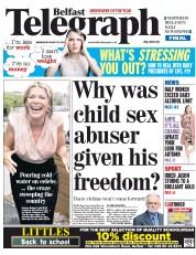 Belfast Telegraph (UK) Newspaper Front Page for 20 August 2014