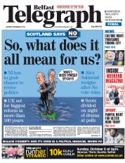 Belfast Telegraph (UK) Newspaper Front Page for 20 September 2014
