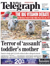 Belfast Telegraph (UK) Newspaper Front Page for 21 October 2014