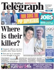 Belfast Telegraph () Newspaper Front Page for 21 August 2012