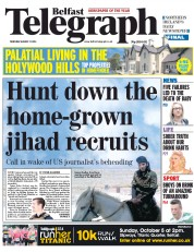 Belfast Telegraph (UK) Newspaper Front Page for 21 August 2014