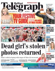 Belfast Telegraph (UK) Newspaper Front Page for 22 December 2014