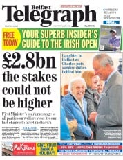 Belfast Telegraph (UK) Newspaper Front Page for 22 May 2015