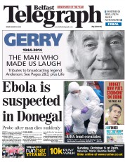 Belfast Telegraph (UK) Newspaper Front Page for 22 August 2014