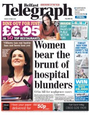 Belfast Telegraph Newspaper Front Page (UK) for 23 October 2012
