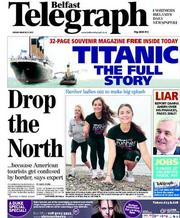 Belfast Telegraph Newspaper Front Page (UK) for 23 March 2012