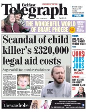 Belfast Telegraph (UK) Newspaper Front Page for 24 October 2014