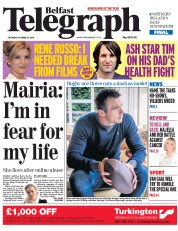 Belfast Telegraph (UK) Newspaper Front Page for 25 October 2014