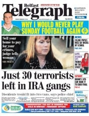 Belfast Telegraph () Newspaper Front Page for 25 February 2014