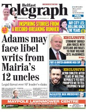 Belfast Telegraph (UK) Newspaper Front Page for 25 May 2015