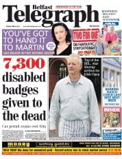 Belfast Telegraph Newspaper Front Page (UK) for 26 June 2012