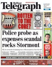 Belfast Telegraph (UK) Newspaper Front Page for 27 November 2014