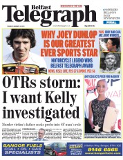 Belfast Telegraph (UK) Newspaper Front Page for 27 January 2015