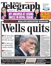 Belfast Telegraph (UK) Newspaper Front Page for 27 April 2015