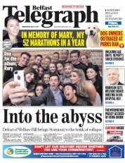 Belfast Telegraph (UK) Newspaper Front Page for 27 May 2015