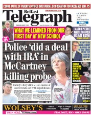 Belfast Telegraph (UK) Newspaper Front Page for 27 August 2015