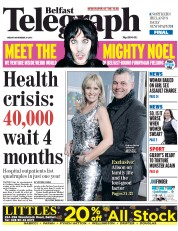 Belfast Telegraph (UK) Newspaper Front Page for 28 November 2014