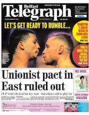 Belfast Telegraph (UK) Newspaper Front Page for 28 February 2015