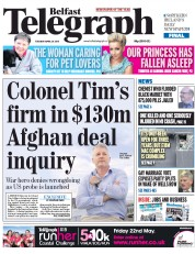 Belfast Telegraph (UK) Newspaper Front Page for 28 April 2015