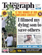 Belfast Telegraph (UK) Newspaper Front Page for 28 August 2014