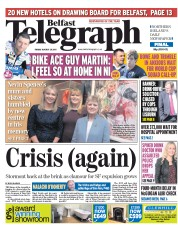 Belfast Telegraph (UK) Newspaper Front Page for 28 August 2015