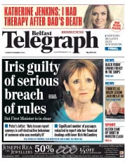 Belfast Telegraph (UK) Newspaper Front Page for 29 November 2014