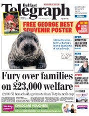 Belfast Telegraph (UK) Newspaper Front Page for 29 January 2015