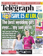 Belfast Telegraph (UK) Newspaper Front Page for 29 August 2015