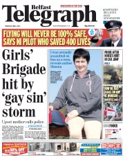Belfast Telegraph (UK) Newspaper Front Page for 2 April 2015