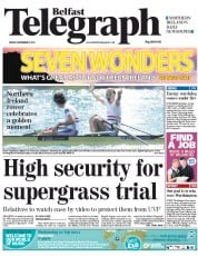 Belfast Telegraph (UK) Newspaper Front Page for 2 September 2011