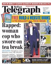 Belfast Telegraph (UK) Newspaper Front Page for 2 September 2015