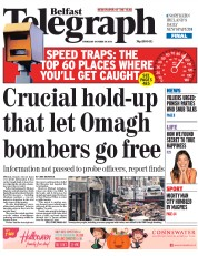 Belfast Telegraph (UK) Newspaper Front Page for 30 October 2014