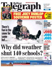 Belfast Telegraph (UK) Newspaper Front Page for 30 January 2015