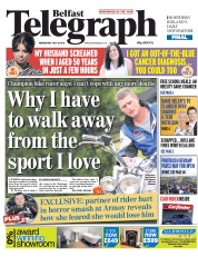 Belfast Telegraph (UK) Newspaper Front Page for 30 July 2015