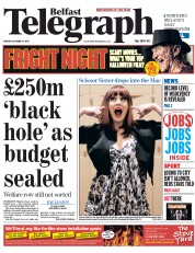 Belfast Telegraph (UK) Newspaper Front Page for 31 October 2014
