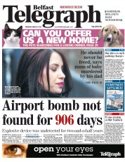 Belfast Telegraph () Newspaper Front Page for 31 March 2011