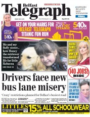 Belfast Telegraph (UK) Newspaper Front Page for 31 July 2015