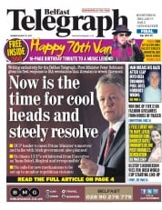 Belfast Telegraph (UK) Newspaper Front Page for 31 August 2015