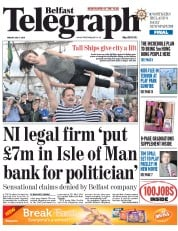 Belfast Telegraph (UK) Newspaper Front Page for 3 July 2015