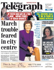 Belfast Telegraph (UK) Newspaper Front Page for 3 August 2015
